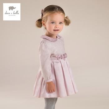 DB4055 dave bella bebê menina rosa peter pan colarinho vestido Lolita bonito vestido de flores