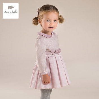 DB4055 dave bella bébé fille rose peter pan col Lolita robe mignon fleur robe