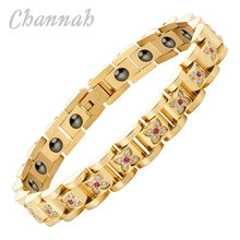 Channah 2017 Women Hematite Germanium 100pcs Crystals Gold Stainless Steel Bracelet Ladies Gift Jewelry Free Shipping Charm