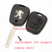 1pcs/lots blank  key replacement 2buttons remote key shell with LOGO for peugeot 206 key delivery in 12hours