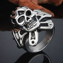 aaa skull Unadjustable Ring 1 PC Top-Grade Plated New Arrival Exquisite Stainless Steel Finger Ring Wholesale Price(China)