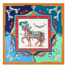 2016 New Arrival Luxury Brand Twill Silk Woman Scarf Square Scarf France War Horse Print Silk Scarf&Wraps Hijab Female Scarf(China)