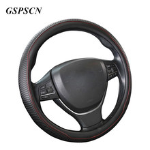 GSPSCN Genuine Leather Tire Track Sport Design Auto Car Steering Wheel Cover Universal 38cm / 15 inch for Universal Car(China)