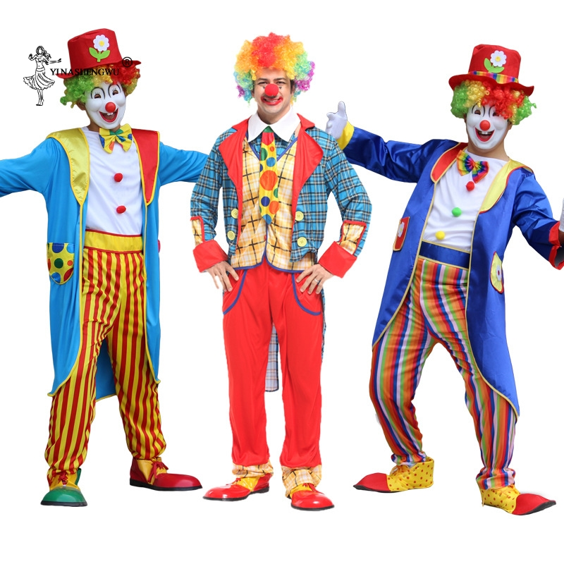 Halloween Adult Clown Costume Cosplay Naughty Harlequin Fancy Fantasia Infantil Party Carnival 27 Colors Stage Cosplay Clothing