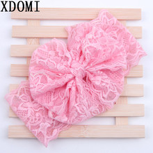 Lace Bow Headwrap girls messy bow headband elastic lace Vintage Children HeadWrap Photo Prop Hair Accessories 5 pcs/lot(China)