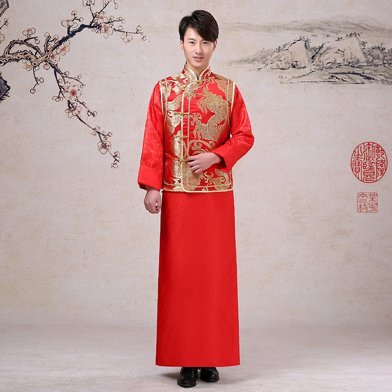 Robe Orientale Traditional Chinese Wedding Dress Men Cheongsam Long Satin Groom Traditions Costume Tang Dynasty Clothing Vintage