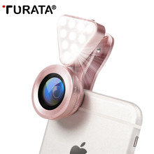 TURATA 3 in 1 Lens, Fill Light, 0.4X,-0.6X Wide Angle, 15X Macro Lens Clip-on Cell Phone Camera Lenses Kit for iPhone 7 Samsung(China)