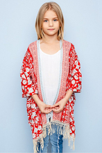 Summer Teenager Floral Tassel Outwear Junior Fashion Cardigan Big Kids Girls Casual Coats 2017 childrens clothing(China)