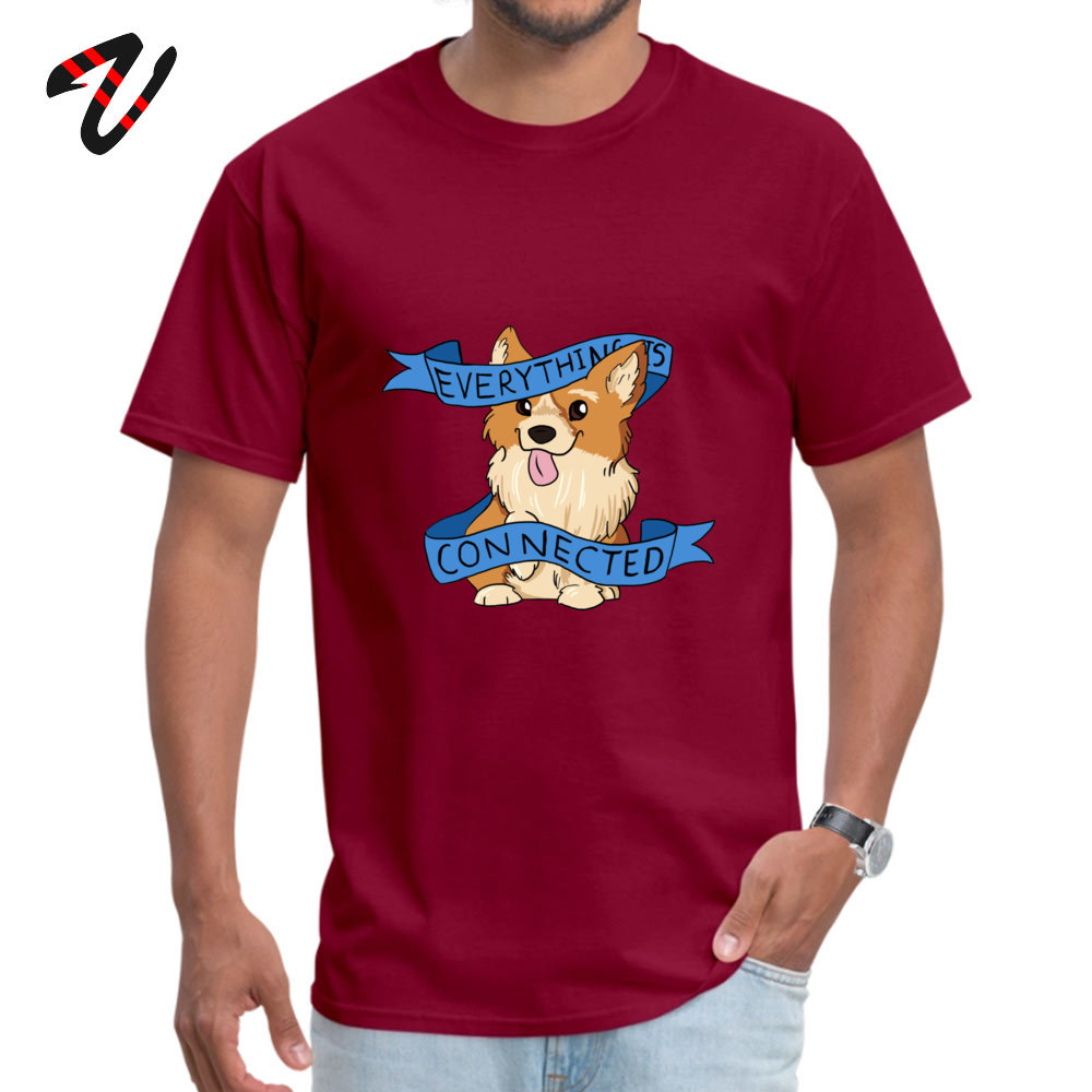 Oversized Everything is Connected Corgi Top T-shirts Fall Round Collar 100% Cotton Tops Shirts for Men Tee Shirts Casual Everything is Connected Corgi 11572 maroon