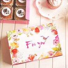 new 18*12*4.5cm 10pcs birds sing love design Cheese birthday Cake Paper Box Cookie Container snacks baby shower Christmas Use