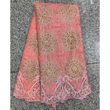 2017 Hot products African Lace With Beads,High Quality French Advanced Stones Net Lace Fabric For Wedding Dress Peach color(China)