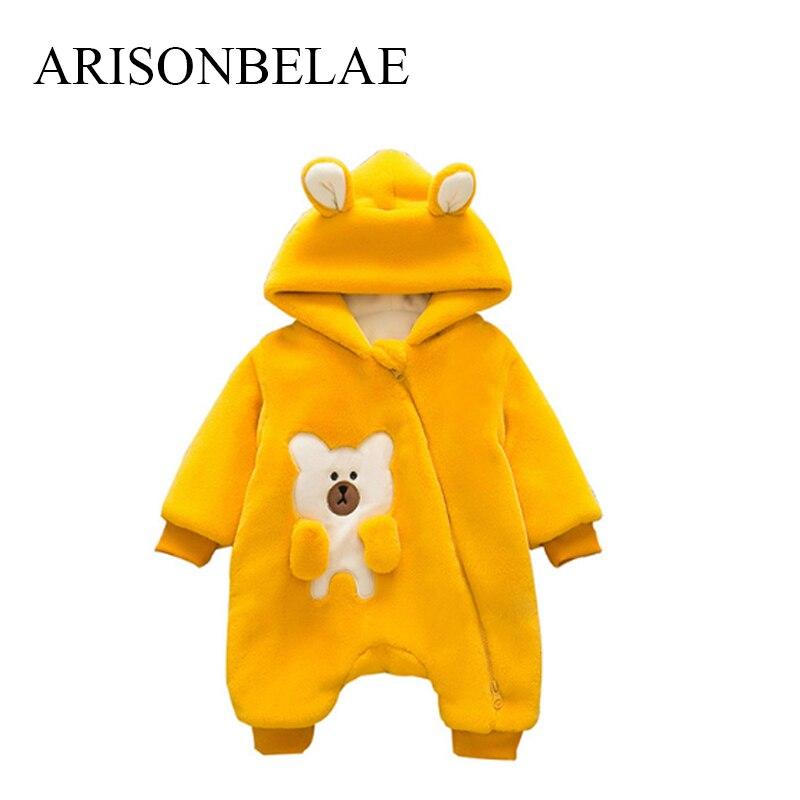 ARISONBELAE Christmas Baby Romper Zipper Newborn Warm Winter Jumpsuit Cute Bear Thick Infant Snow Unisex Outside Wear Romper<br>