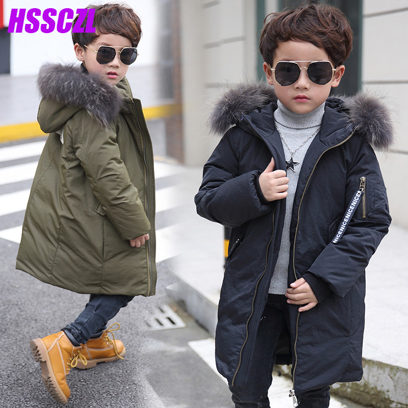 HSSCZL Korean childrens down jacket big  authentic winter boy white down coat thicken overcoat outerwear parkas hooded 6-14 ageÎäåæäà è àêñåññóàðû<br><br>