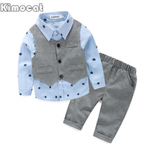 2017 Spring Baby Boy gentleman suit shirt + overalls 2pcs long sleeve T-shirt boys pants kids clothes children's clothing set(China)