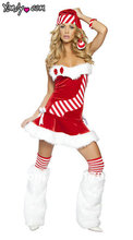 New Year Sexy Strapless Women Christmas Red Costume Santa Dress With Hat Party Dress Holiday Costume