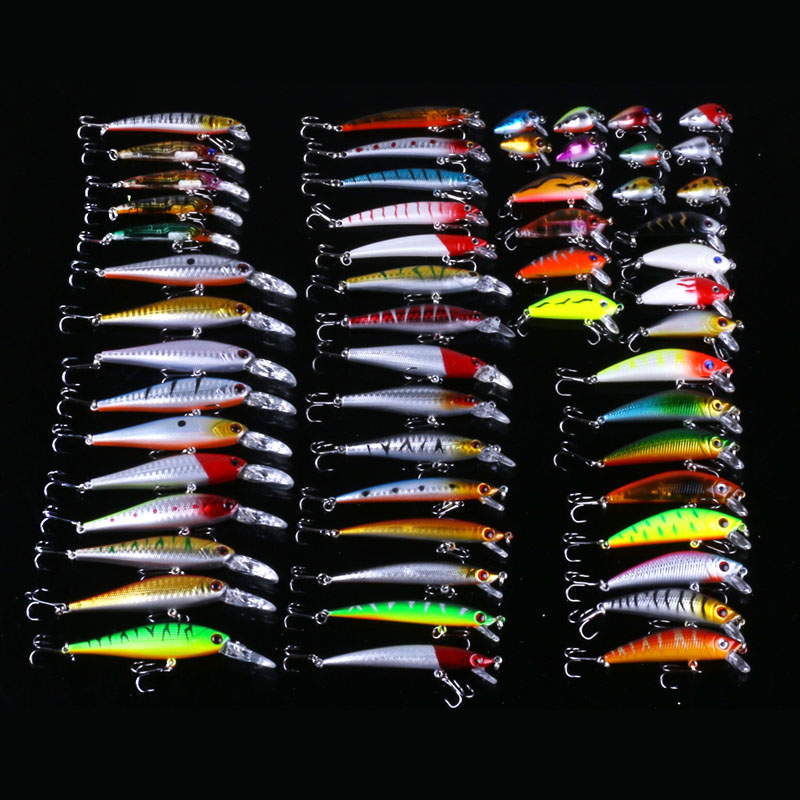 HENGJIA hard plastic minnow fishing lure crankbait artificial wobbler trout catfish pesca fishing tackles mixed 56pcs lures set<br>