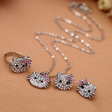 Wholesale Price Crystal Rhinestone Children Jewelry Set High Quality Alloy Hello Kitty Ring Earring Necklace Set