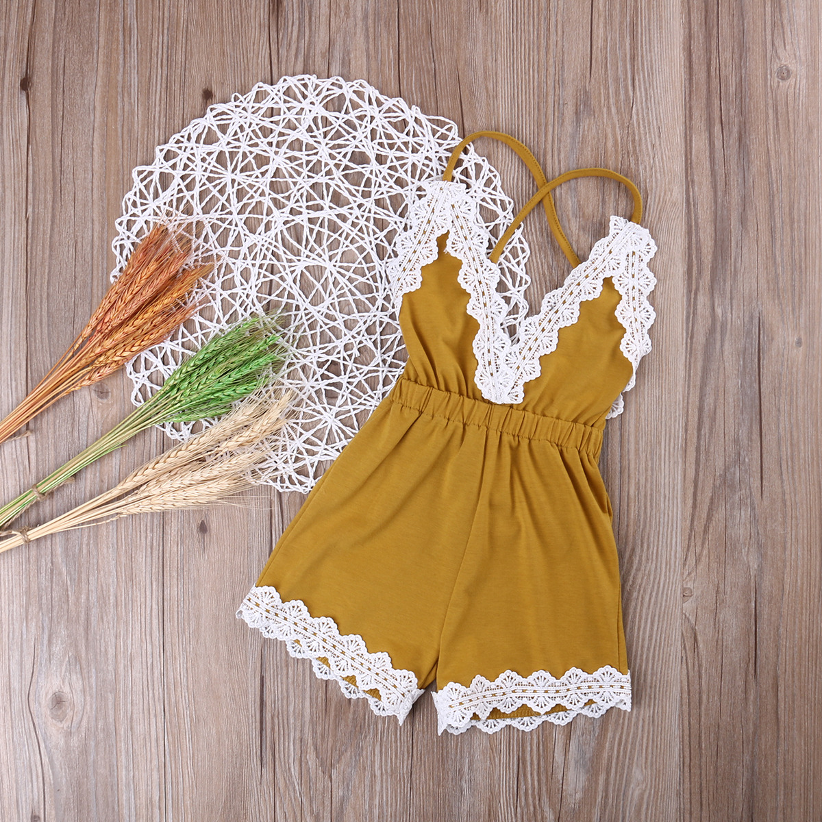 Pettigirl 2-12Y Girls Yellow Jumpsuit Romper Outfit Summer Kids Flower Lace Costume Children Overalls Clothes