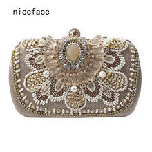 Brand New 2017 women messenger bag fashion Handmade Beaded elegant wallet pearl Bridesmaid dress evening bag lady party Clutch