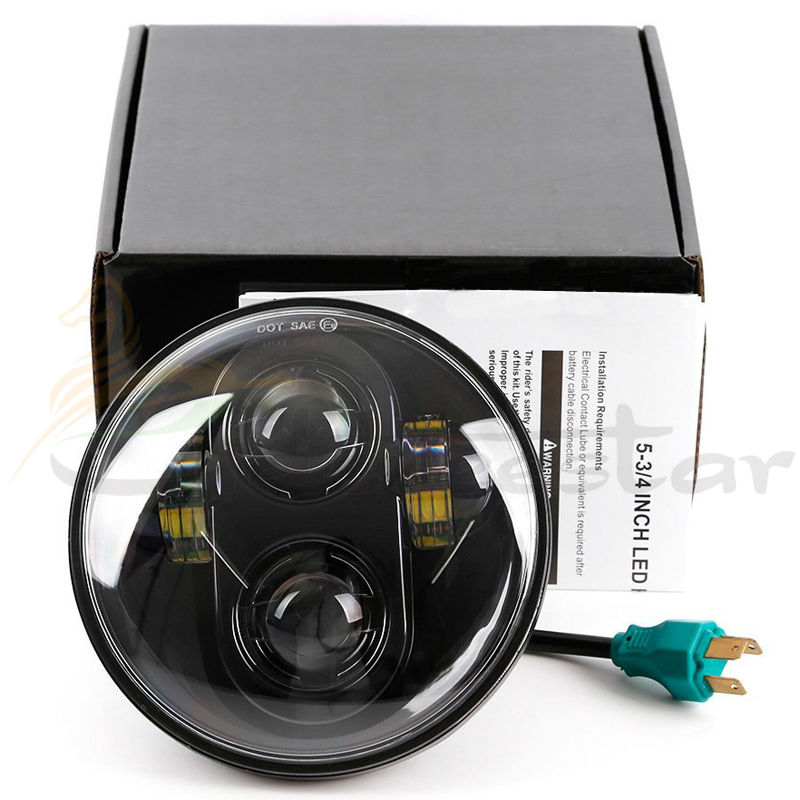 Motorcycle H4 High Low Beam Harley 5.75 Round Black/Chrome Led Headlight Lamp Motorcycle Fittable for Davidson Harley light<br>