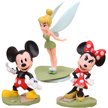 Disney Toys 3pcs/Lot Pvc Anime Figure Mickey Mouse/Minnie Mouse Flower Fairy Action Figure Set Collectible Model Toys For Girls