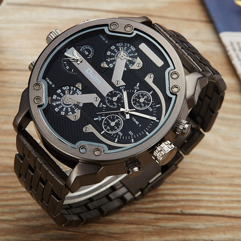 Oulm Male Military Watches Golden Hour Oversized Big Quartz Watch Top Brand Men Full Stainless Steel Wristwatch montre homme 9
