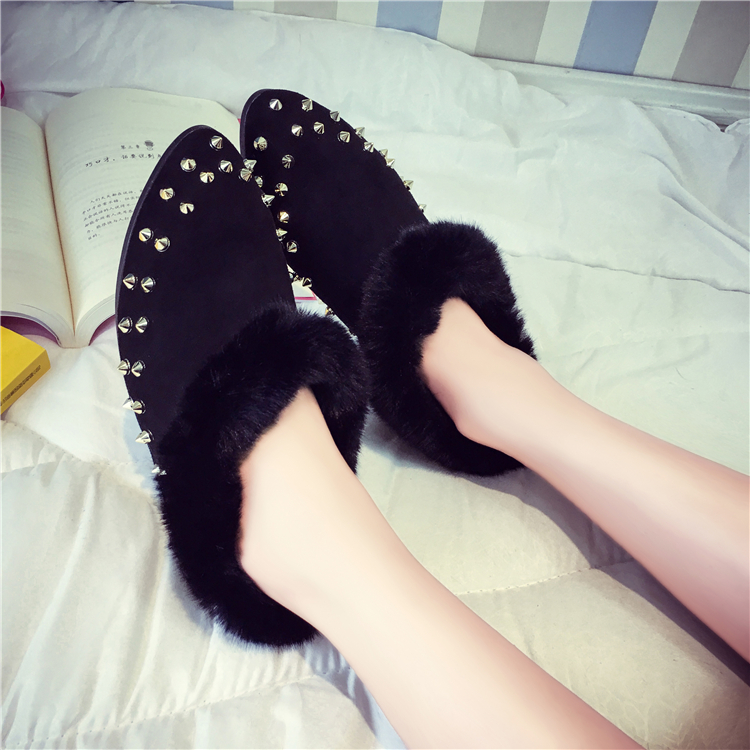 In the fall and winter of 2017 han edition tide add flocking cotton shoes pointed female students lazy rivet single shoes<br><br>Aliexpress