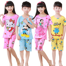 Cartoon Children short Sleeve Pajamas Boy Girl summer sleepwear Baby nighty Suit Child bedgown Clothes kids lovely pyjamas suit