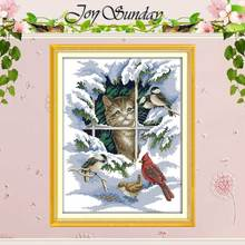 Cat and Birds patterns Counted Cross Stitch 11 14CT Cross Stitch Sets animals Cross Stitch Kits Embroidery Home Decor Needlework(China)