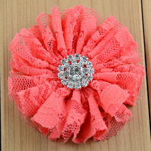 "20pcs Girls Hair Flowers Without Clips DIY Headband Flowers 2.8"" Vintage Lace Fabric Flower with Rhinestone Blue Peach Red etc."