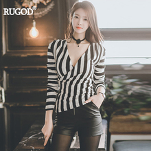 RUGOD 2017 Autumn New Arrival Slim High Waist Chest Wrap Women Shirts Tops V-Neck Long Sleeve Striped Office Lady Female Blouses