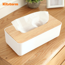 High Quality Plastic Tissue Box Paper Home/Car Napkins Holder Dispenser With Oak Wooden Cover Home Organizer Decoration