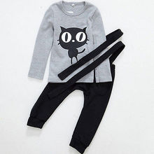 2017 new year hello kitty kids clothes set 2pcs Toddler Baby Boy kitti Outfits T-shirt Top+Bib Pants Overalls Romper Kids Set