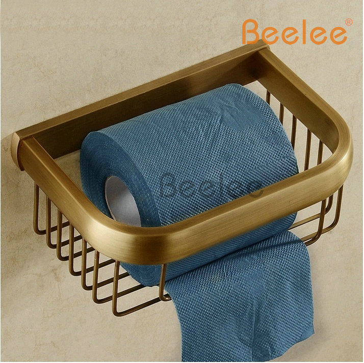 Beelee BL8400A  Antique Brass Finished Bathroom Brass Material Shower Baskets Wall Mounted Bathroom Shelf<br>