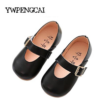 Simple Style Baby Girl Leather Shoes 2017 Spring Girls Princess Flat Single Shoes Black, Pink, Beige Shoes For Girl