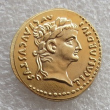 wholesale Ancient Roman Aureus Coin of Emperor Tiberius - 15 AD Gold Plated Coins Copy FREE SHIPPING(China)