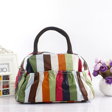 Best Price Portable Ployester Waterproof Women Handbags Folding lunch Bag Thermal Food Picnic Lunch Bags Without Package