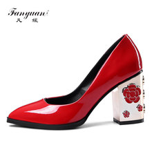 Fanyuan 2017 Women Pumps Fashion Genuine leather Elegant Round Toe High Heels Flower Party Spring Woman Shoes Black Red Wedding(China)