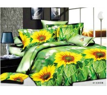 3D Bedclothes Sunflower Dancing 4pcs Bedding Sets King Or Queen Reactive Print(China)