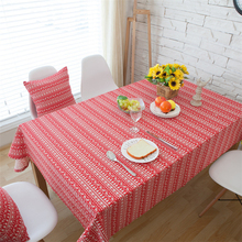 2017 New Pastoral Red Deer Christmas Tree Stripe Tablecloth Cotton & Linen Rectangular Table Cover Wedding Party Home Textile