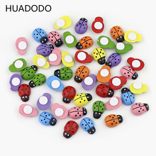 HUADODO 100PCS/Lot Colorful Wooden Ladybug Ladybird Self-adhesive Stickers DIY Craft Scrapbooking Home Party Decoration(China)
