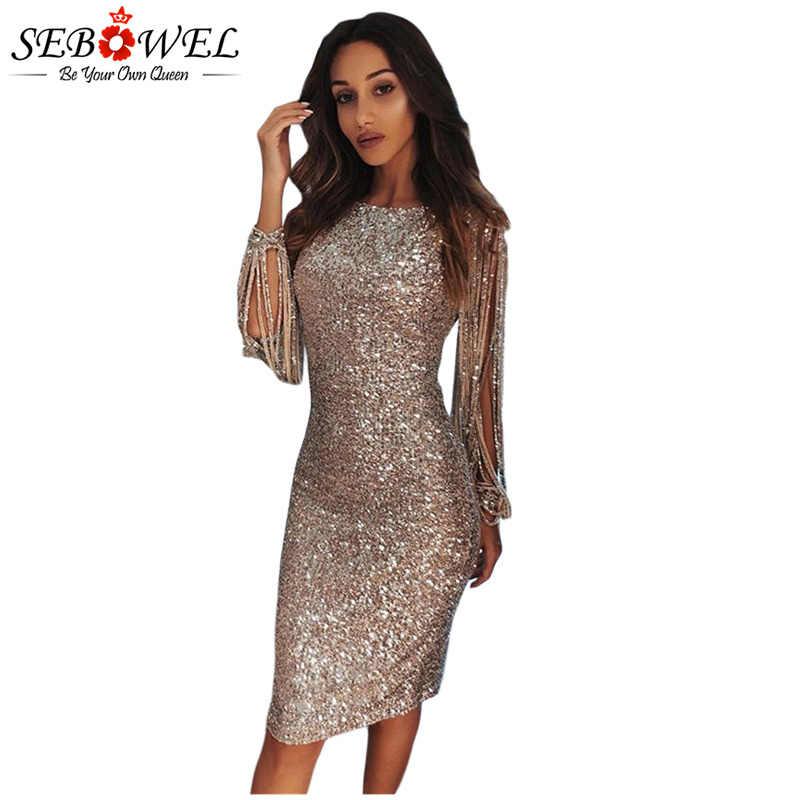 SEBOWEL Sexy Sequin Dress Women Bodycon Silver Glitter Party Dress Long  Sleeve Sequin Club Dress Gold 6037e8682aef