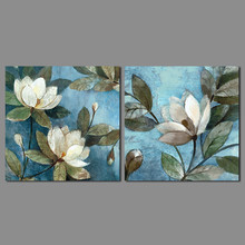 2pcs/set flower picture decoration blue Canvas Painting white flowers green leaves pattern wall Art living room print unframed
