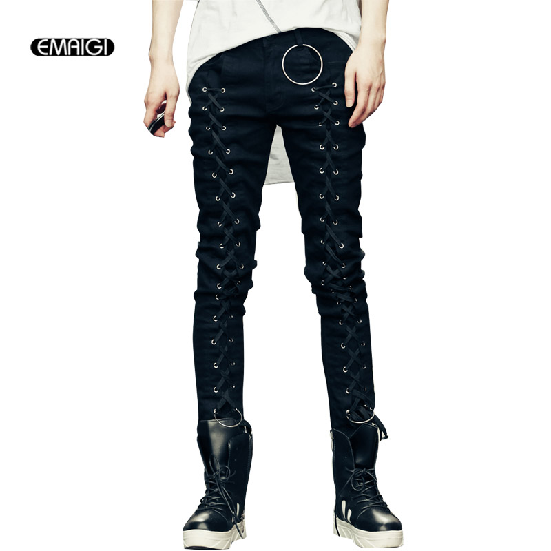 Men High Street Fashion Metal Ring Rope Decoration Casual Denim Pant Male Slim Fit Punk Hip Hop Style Jeans TrousersÎäåæäà è àêñåññóàðû<br><br>