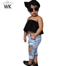 JT-281 2018 chiffon Strapless T-shirt + Jeans for girls set of 3 items fashionable with children denim set of children clothing(China)