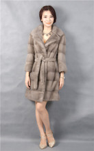 natural mink coat fur of grey,turn-down collar,3/4 sleeve,2016 woman new fashional mink fur coat natural