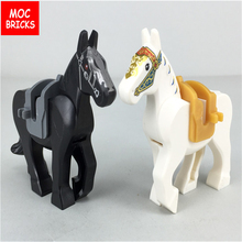 MOC Compatible Assembles Particle building Block Toy Plastic brick parts black horse white free shipping animal grass plant toys