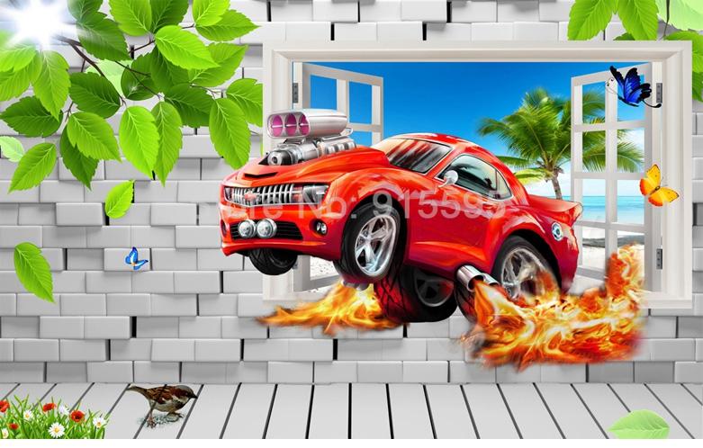 HTB1HLC hiqAXuNjy1Xdq6yYcVXao - Pastoral Style Children Room Bedroom Wall Decoration Mural Wallpaper 3D Stereoscopic Window Cartoon Car Broken Wall Large Murals