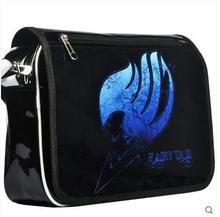 The new fairy tail bag shoulder bag inclined shoulder bag patent leather anime bag naz printing fine men and women
