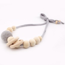 Let's Make Baby Wooden Teething Accessories Big Crochet Beads Cloth Rope Chew Beads DIY Jewelry Organic Rattle Nursing Necklace(China)